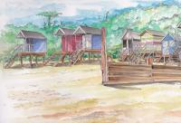 Water Art - Beach Huts - Watercolour
