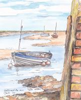 Wooden Boat - Watercolour Paintings - By Malc Lane, Fine Art Painting Artist