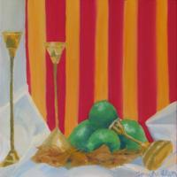 Still Life - Brass Candle Holders And Limes - Oil On Canvas