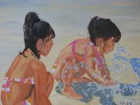 Figure - Young Girls At Play - Oil On Canvas
