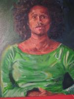 Self Portrait In Green - Oil On Canvas Paintings - By Tomisha Lovely-Allen, Realism Painting Artist