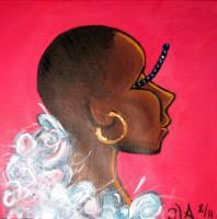 Bald Woman W Gold Earring - Acrylic On Canvas Paintings - By Tomisha Lovely-Allen, Decorative Painting Artist